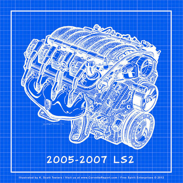 Drawing - 2005 - 2007 Ls2 Corvette Engine Reverse Blueprint by K Scott Teeters