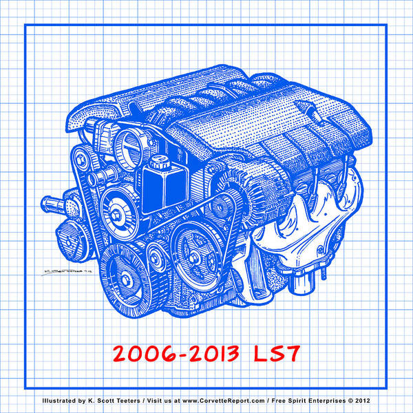 Drawing - 2006 - 2013 Z06 Ls7 Corvette Engine Blueprint by K Scott Teeters