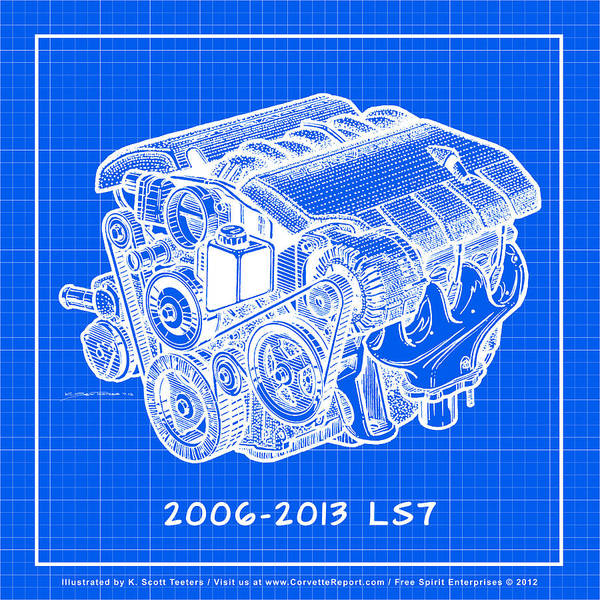 Drawing - 2006 - 2013 Z06 Ls7 Corvette Engine Reverse Blueprint by K Scott Teeters