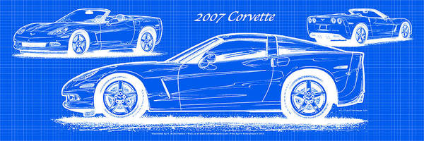 Digital Art - 2007 Corvette Blueprint Series by K Scott Teeters