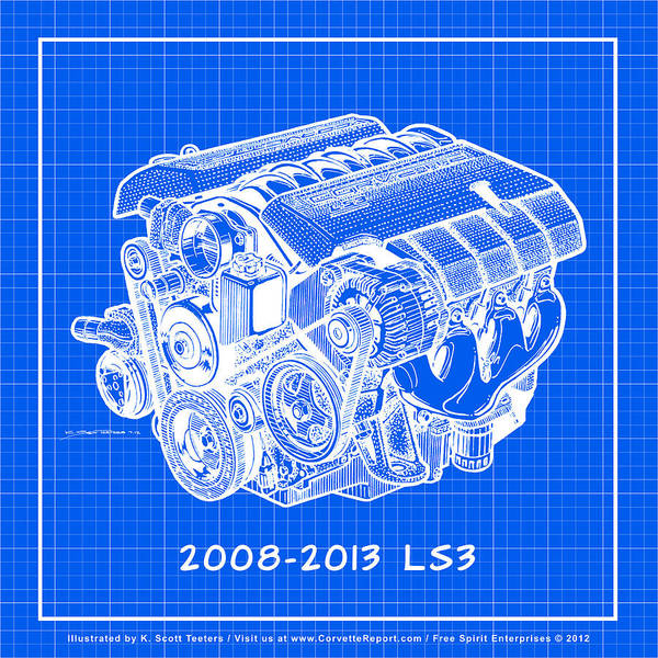 Drawing - 2008-2013 Ls3 Corvette Engine Reverse Blueprint by K Scott Teeters