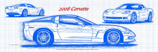 Digital Art - 2008 Corvette Blueprint by K Scott Teeters