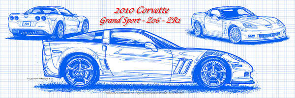 Digital Art - 2010 Corvette Grand Sport - Z06 - Zr1 Blueprint by K Scott Teeters