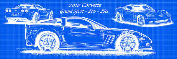 Digital Art - 2010 Corvette Grand Sport - Z06 - Zr1 Reverse Blueprint by K Scott Teeters