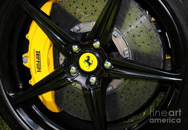 458 Photograph - 2012 Ferrari 458 Spider Brake Pad Yellow by Paul Ward
