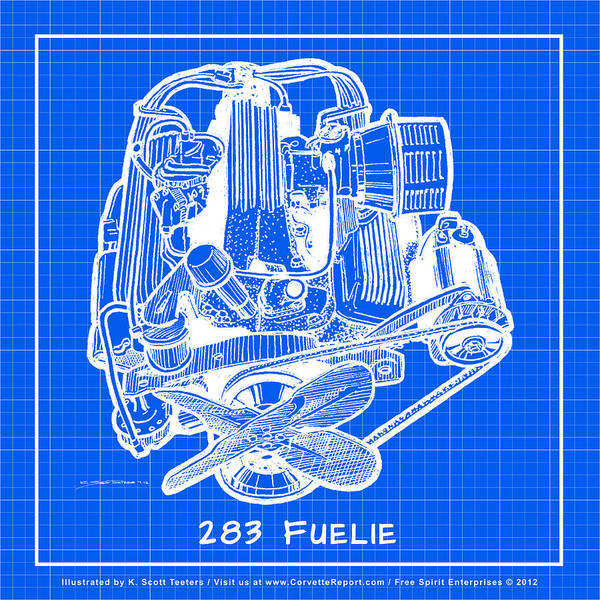 Drawing - 283 Corvette Fuelie Reverse Blueprint by K Scott Teeters
