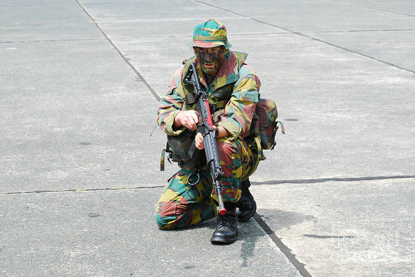 Fnc Photograph - A Paratrooper Of The Belgian Army by Luc De Jaeger