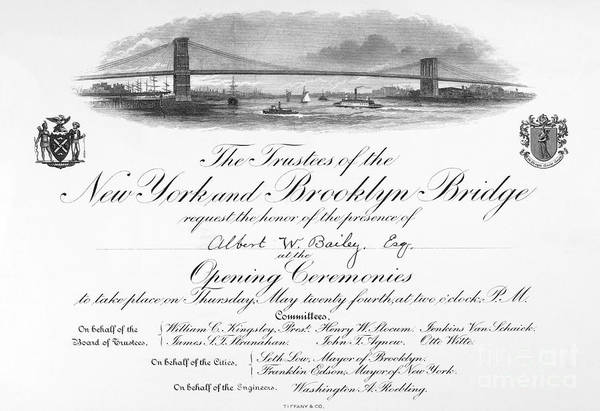 Wall Art - Photograph - Brooklyn Bridge: Opening by Granger