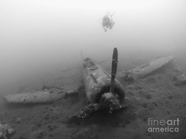 Kimbe Bay Wall Art - Photograph - Diver Explores The Wreck by Steve Jones