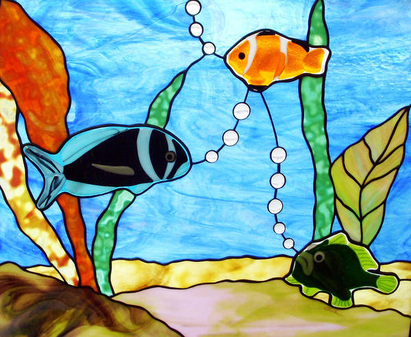 Glass Art - 3 Fishes In The Sea by Jane Croteau