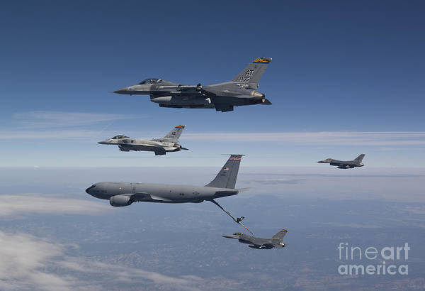 National Guard Photograph - Four F-16s And A Kc-135 Fly by HIGH-G Productions