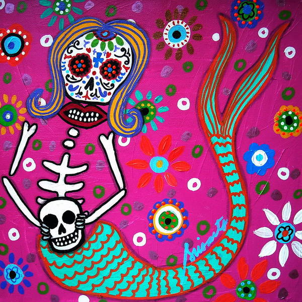 Painting - Mermaid Day Of The Dead by Pristine Cartera Turkus