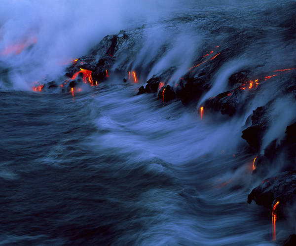 Wall Art - Photograph - Molten Lava Flowing Into The Ocean by G. Brad Lewis