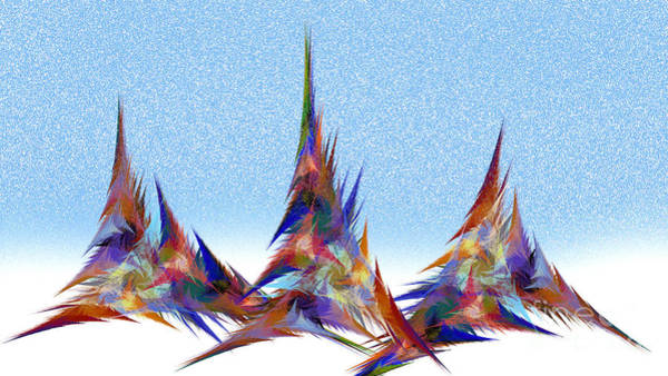 Digital Art - 3 Teepees Snow Storm by Andee Design