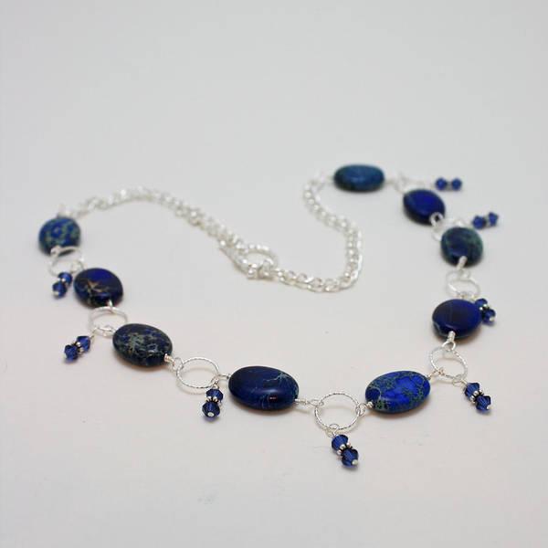 Sterling Silver Jewelry Wall Art - Jewelry - 3589 Blue Sea Sediment Jasper Necklace by Teresa Mucha