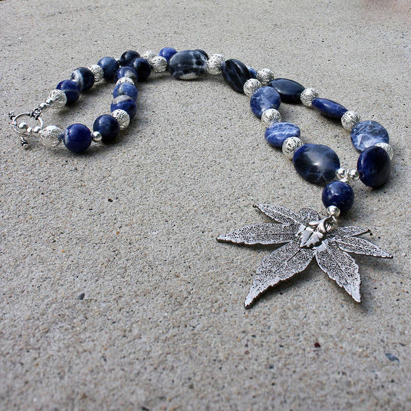 Sterling Silver Jewelry Wall Art - Jewelry - 3593 Sodalite And Silver Necklace With Japanese Maple Leaf Pendant  by Teresa Mucha