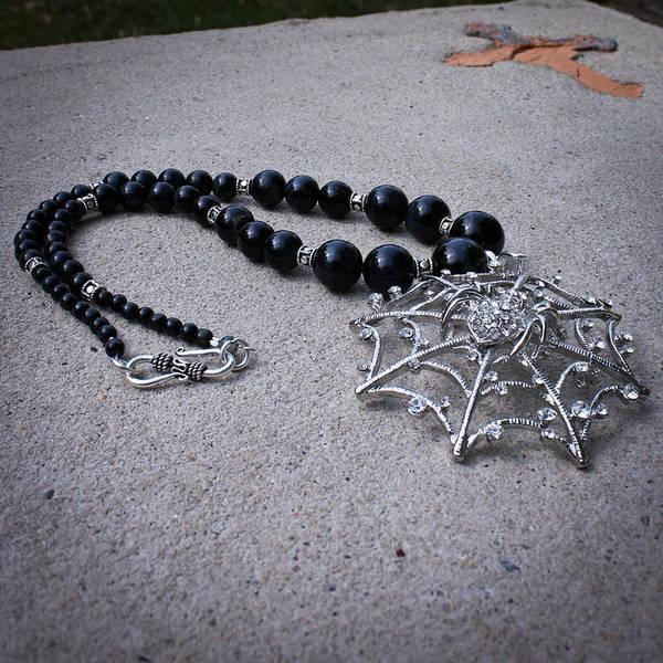 Sterling Silver Jewelry Wall Art - Jewelry - 3596 Spiderweb Rhinestone Pendant Necklace by Teresa Mucha