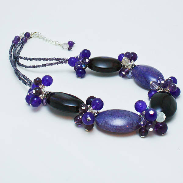 Sterling Silver Jewelry Wall Art - Jewelry - 3598 Purple Cracked Agate Necklace by Teresa Mucha