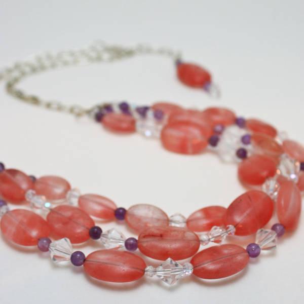 Sterling Silver Jewelry Wall Art - Jewelry - 3606 Cherry Quartz Triple Strand Necklace by Teresa Mucha