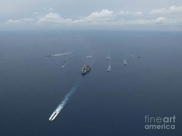 Uss Carl Vinson Photograph - Carrier Strike Group Formation Of Ships by Stocktrek Images