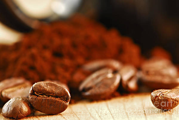 Photograph - Coffee Beans And Ground Coffee by Elena Elisseeva