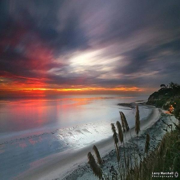 Long Exposure Sunset At A North San Art Print by Larry Marshall