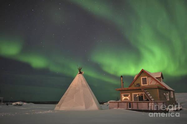 Yellowknife Wall Art - Photograph - Northern Lights Above Village by Jiri Hermann