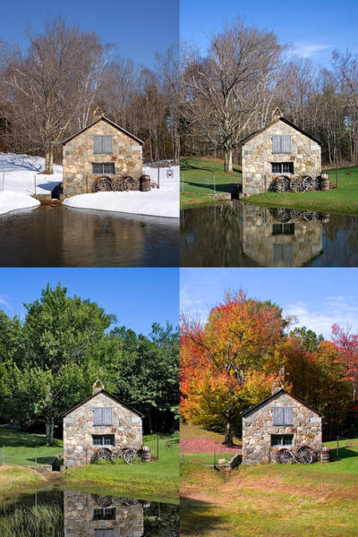 Photograph - 4 Seasons Stone Shed Vertical by Larry Landolfi