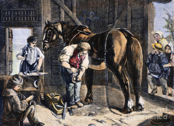 Farrier Photograph - The Village Blacksmith by Granger