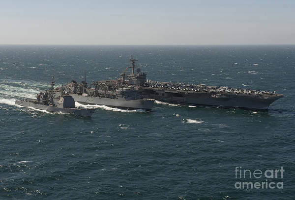 Uss Carl Vinson Photograph - Underway Replenishment At Sea With U.s by Stocktrek Images