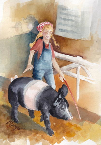County Fair Painting - 4h Series 3 Pig Tails by Judi Nyerges