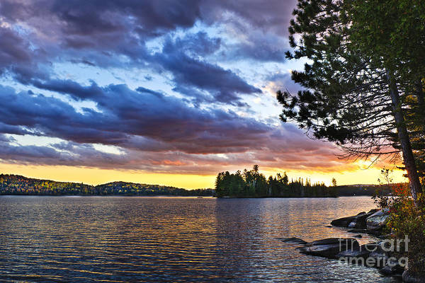 Algonquin Park Photograph - Dramatic Sunset At Lake by Elena Elisseeva