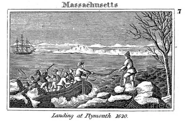 Plymouth Rock Photograph - Plymouth Rock: Landing by Granger