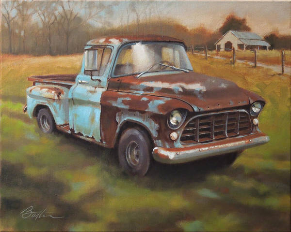 Chevy Truck Wall Art - Painting - 55 Chevy Truck by Todd Baxter