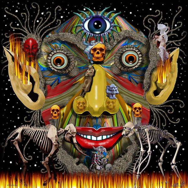 Gargoyle Digital Art - 57730221col by Michael Yacono