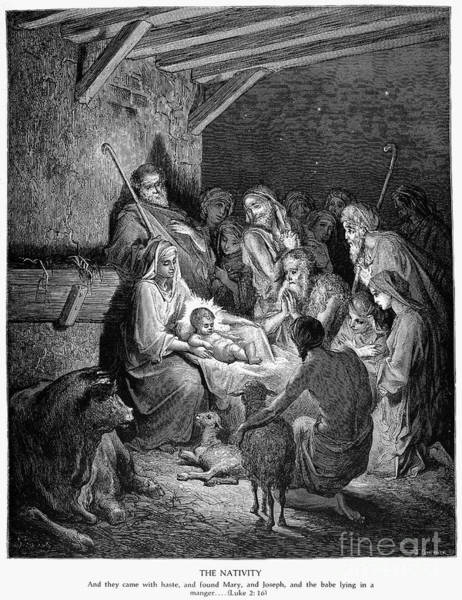 Bethlehem Drawing - The Nativity by Gustave Dore