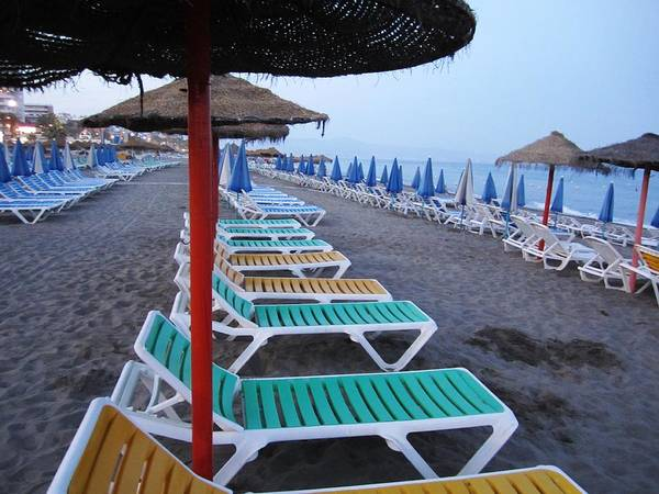 Photograph - Beach Umbrellas And Chairs Costa Del Sol Spain by John Shiron