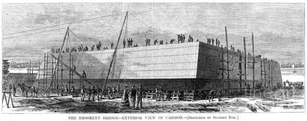 Photograph - Brooklyn Bridge, 1870 by Granger