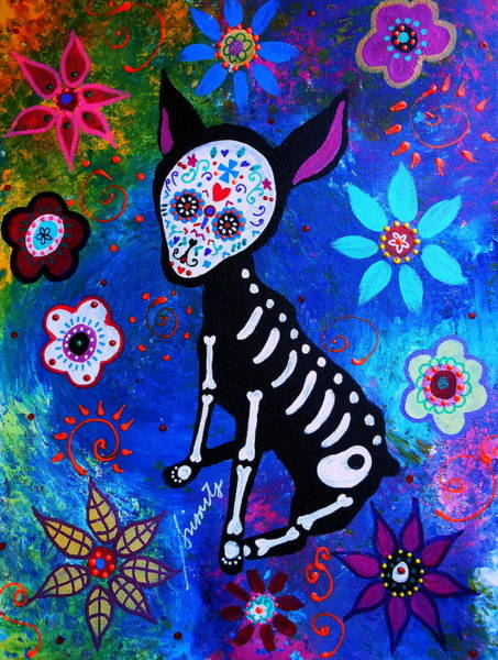Toomer Wall Art - Painting - Chihuahua Day Of The Dead by Pristine Cartera Turkus