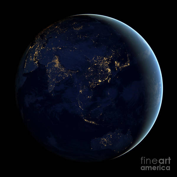 Photograph - Full Earth At Night Showing City Lights by Stocktrek Images