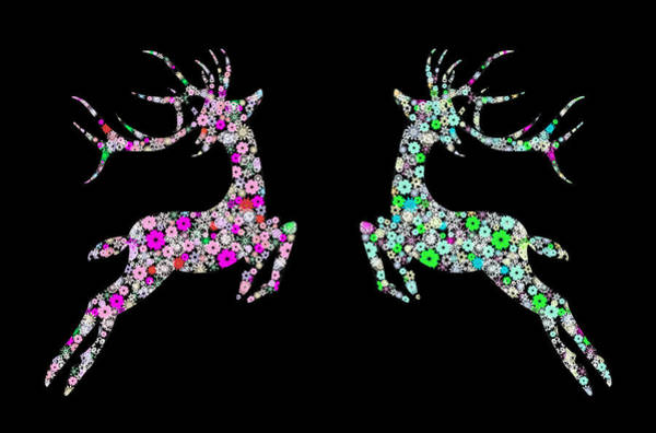 Wall Art - Painting - Reindeer Design By Snowflakes by Setsiri Silapasuwanchai