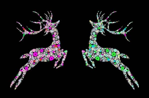 Christmas Card Painting - Reindeer Design By Snowflakes by Setsiri Silapasuwanchai