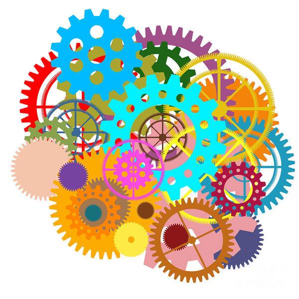Spin Painting - Gears Wheels Design  by Setsiri Silapasuwanchai