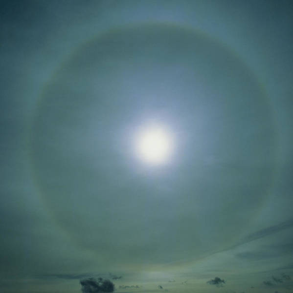 22 Degree Halo Wall Art - Photograph - A 22 Degree Ice Halo Around The Sun by Dr Jeremy Burgess