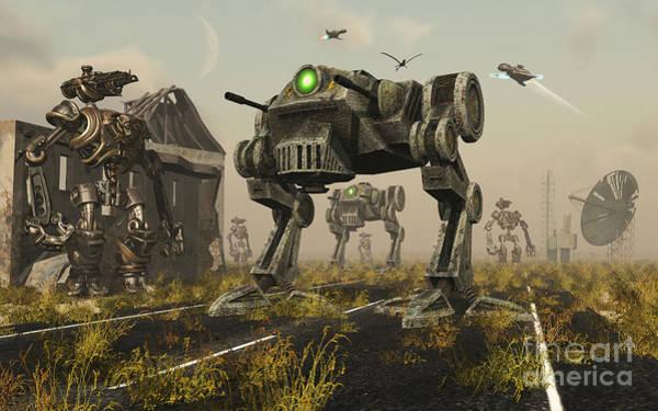 Assault Weapons Digital Art - A 3d Conceptual Image Where Man Uses by Mark Stevenson