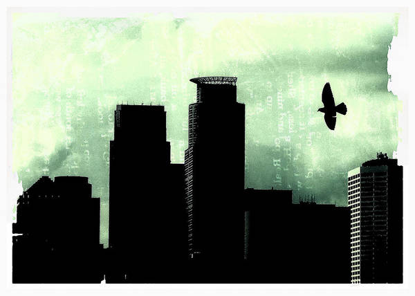 Bird In Flight Digital Art - A Bird Over Minneapolis by Susan Stone