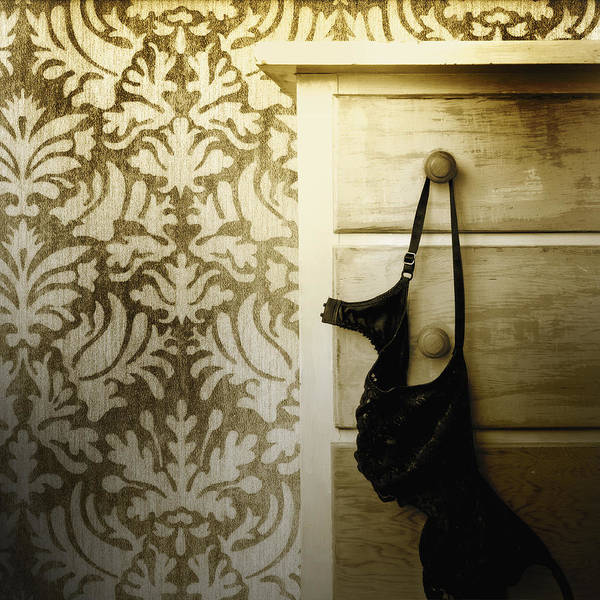 Chest Of Drawers Photograph - A Black Bra Underwear Hanging by Marlene Ford