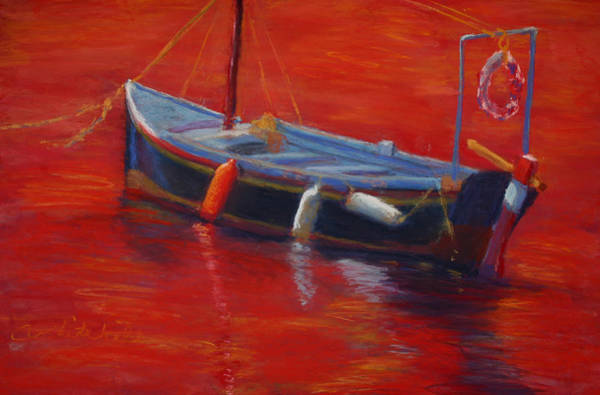 Wall Art - Painting - A Boat In Red Water by Cheryl Whitehall