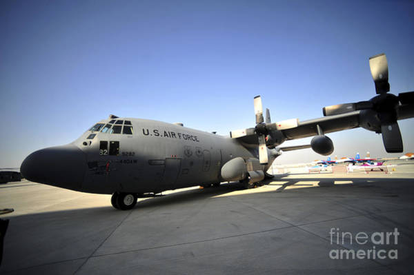 Bahrain Photograph - A C-130 Hercules Is On Display by Stocktrek Images