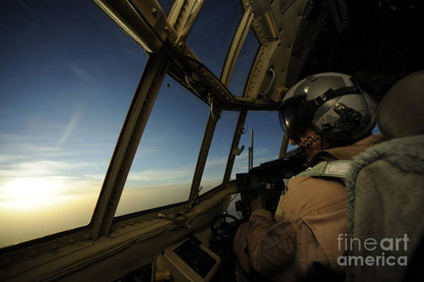 Flight Deck Photograph - A C-130 Hercules Pilot Scans by Stocktrek Images